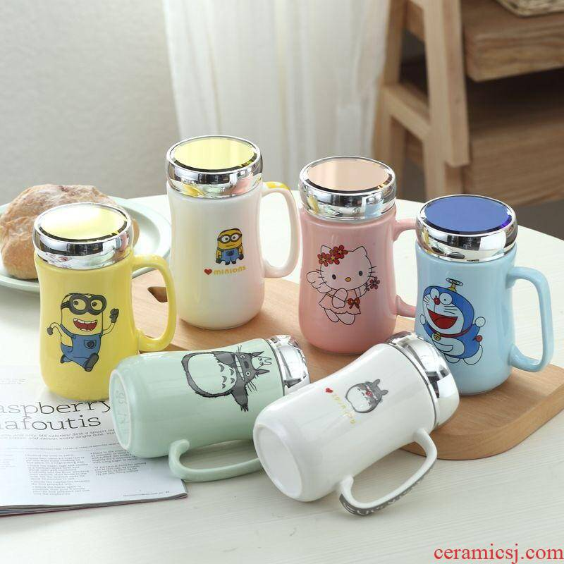 Creative ceramic cup large - capacity glass mugs contracted picking spoon coffee cup milk cup custom cup with cover