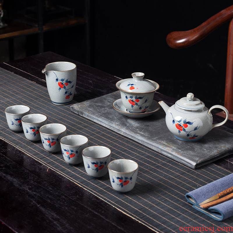 Elder brother up the was suit home sitting room visitor jingdezhen ceramic high - grade tea kung fu tea cups small sets of the teapot