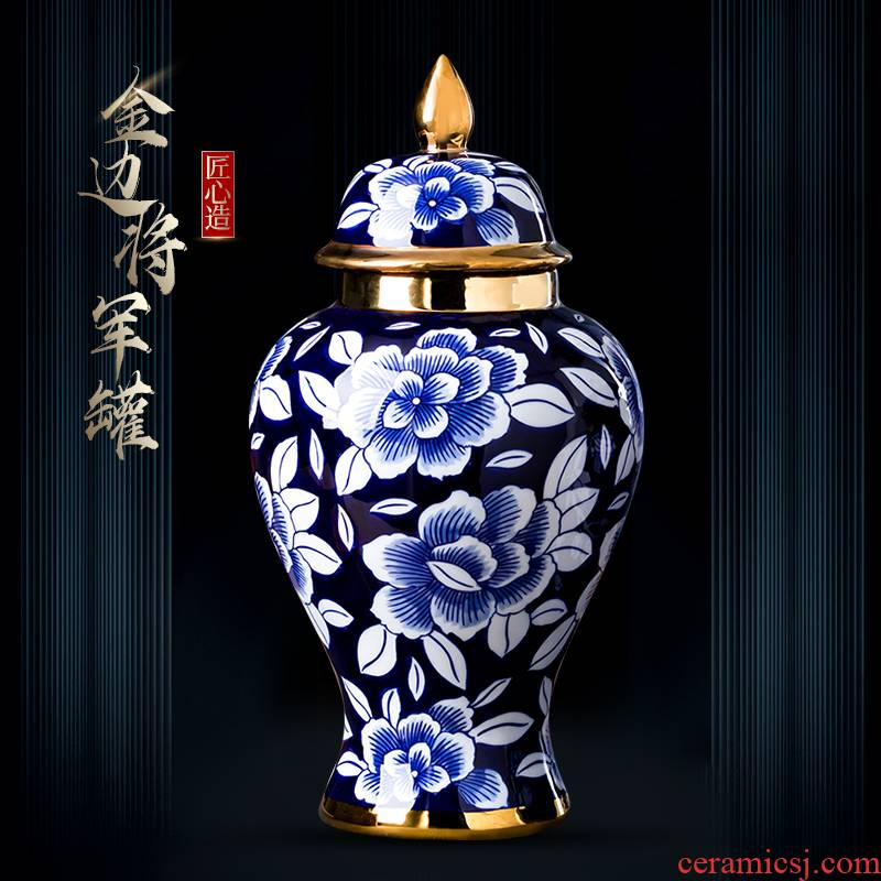 Jingdezhen ceramics vase furnishing articles general large antique blue and white porcelain jar of new Chinese style home sitting room adornment