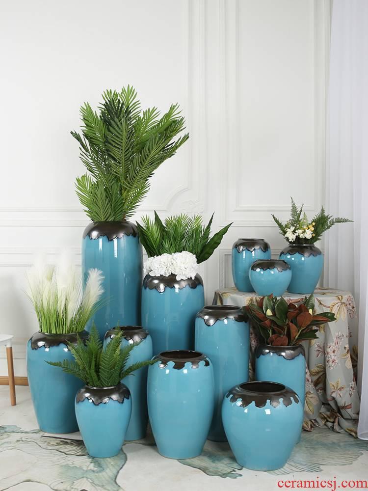 Dried flower arranging flowers, ceramic vase of large key-2 luxury light blue glazed pottery sitting room place, home decorations, European - style decoration