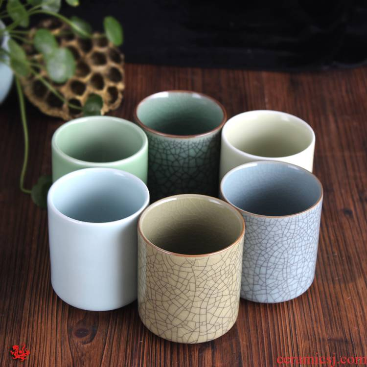 Longquan celadon ceramics kung fu tea set six color cup cup mugs to welcome the personal authenticity cup cup gift boxes
