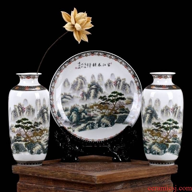 Jingdezhen ceramics pastel landscapes three - piece vase plate of modern household decorates sitting room furnishing articles