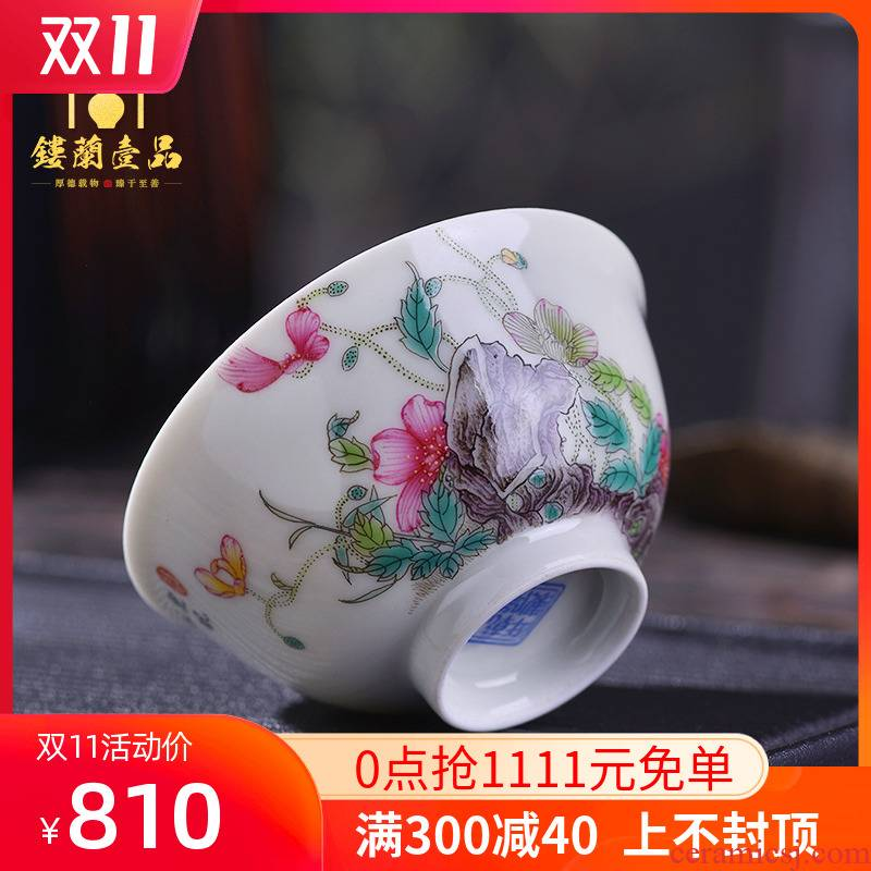 Jingdezhen hand - made imitation the qing qianlong corn poppy enamel acknowledged 盌 ceramic tea set master single cups of tea cups