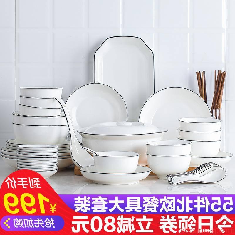 The kitchen jingdezhen Japanese dishes suit Nordic ceramic bowl chopsticks, microwave oven plate eat bowl set