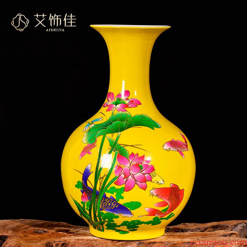 Jingdezhen ceramic sitting room yellow flower arranging furnishing articles every year wining new Chinese TV ark, vases, decorative arts and crafts