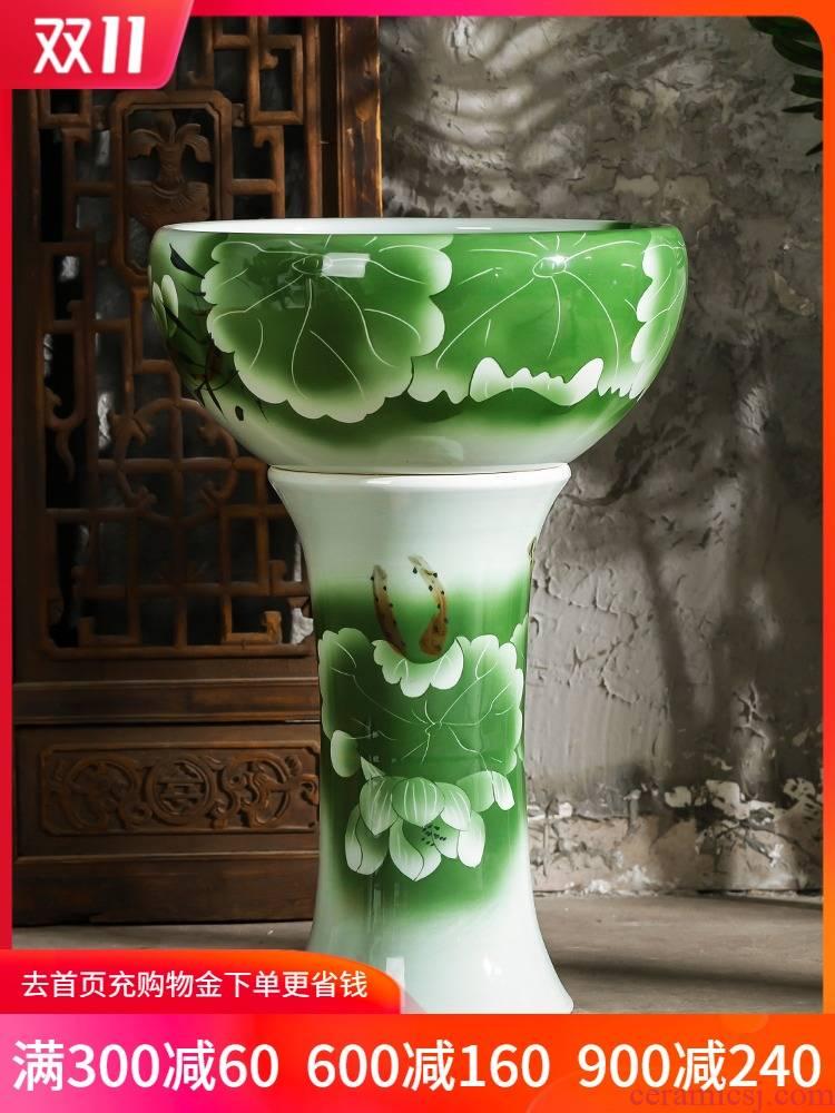 Jingdezhen ceramics pillar landing fish basin large fish bowl lotus lotus lotus tortoise furnishing articles