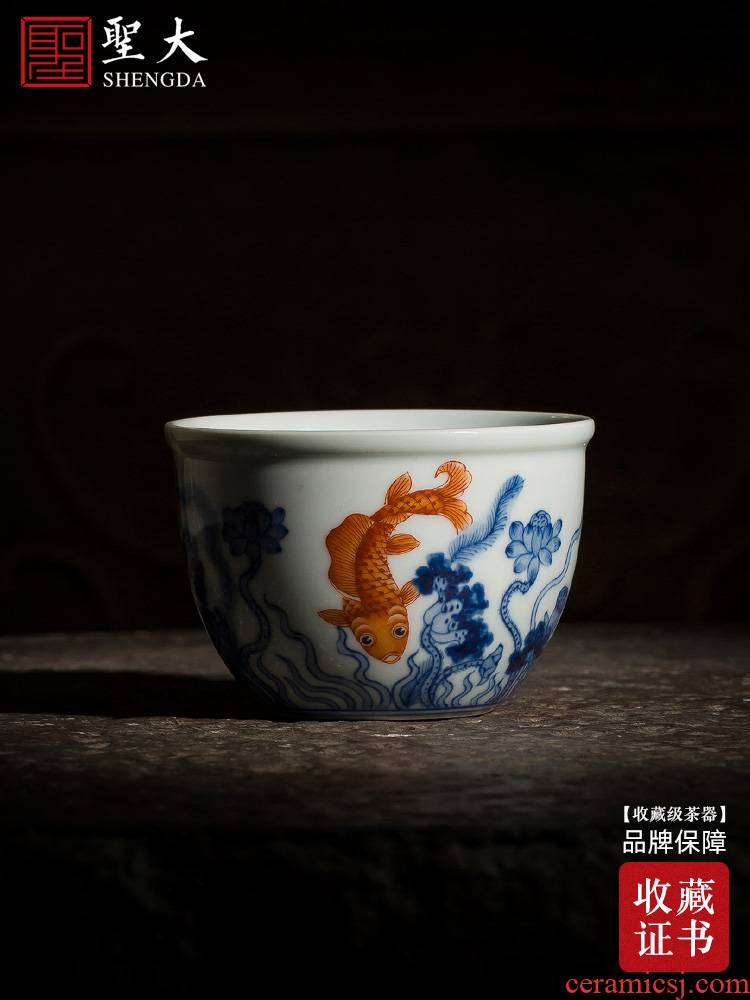 Holy big pure hand - made ceramic blue vitriol color red lotus left le figure cylinder cup cup all hand of jingdezhen tea service master