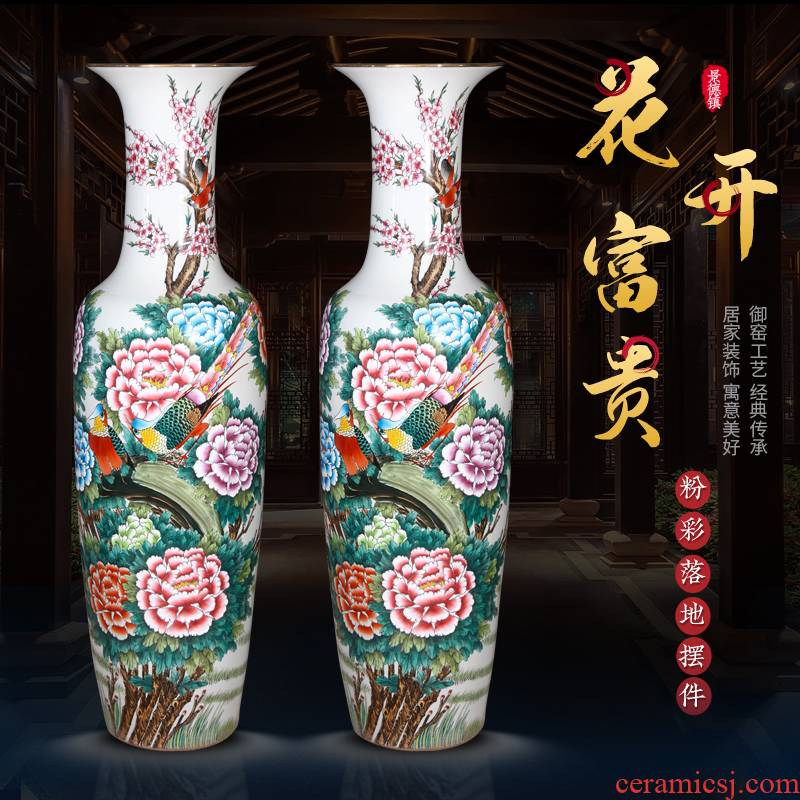 Jingdezhen ceramics new Chinese style household adornment TV ark, furnishing articles, hand - made blooming flowers large vase