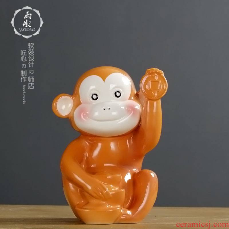 Express monkey made ceramic monkey furnishing articles creative express Chinese zodiac office desktop decoration process