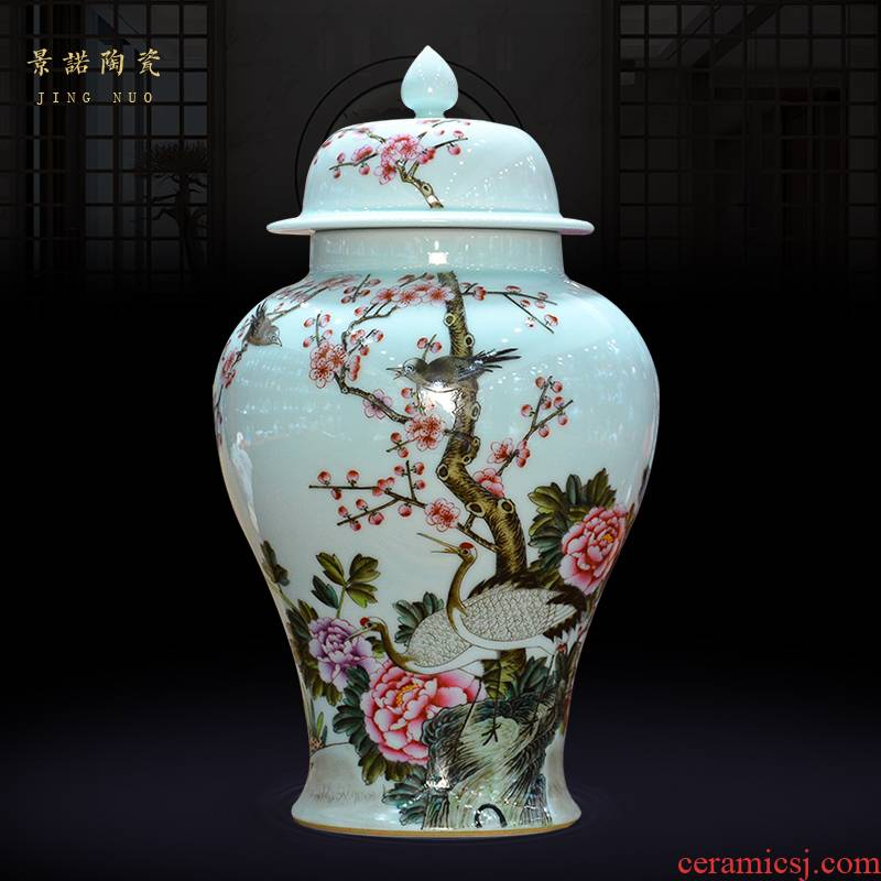 Jingdezhen ceramics archaize the qing qianlong colored enamel painting of flowers and general pot vase Chinese crafts are sitting room