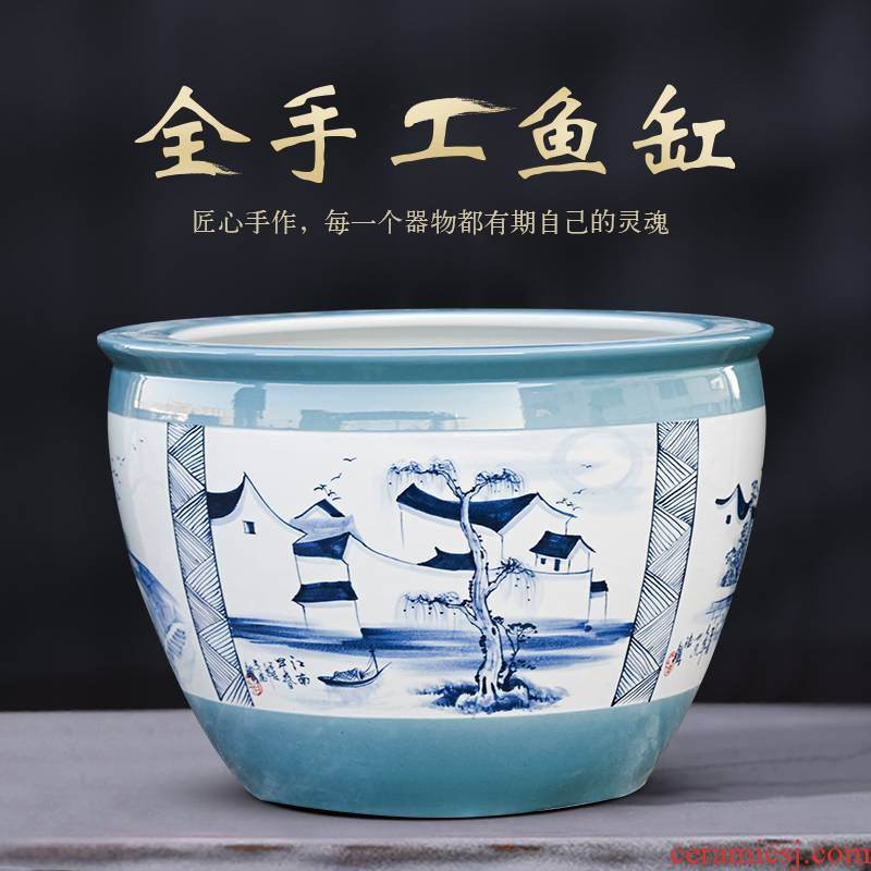 Jingdezhen ceramic aquarium extra large courtyard fish bowl lotus lotus cylinder household aquarium tank wind outside