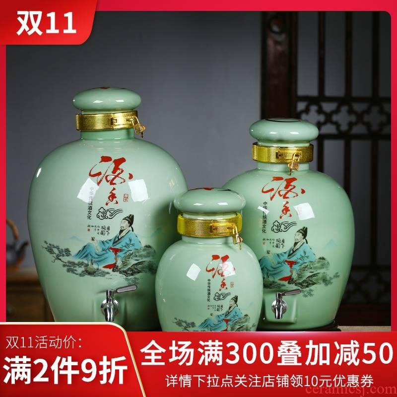 Jingdezhen ceramic altar wine jar mercifully jars seal cylinder household hip belt leading 5 jins of 10 jins 30 kg