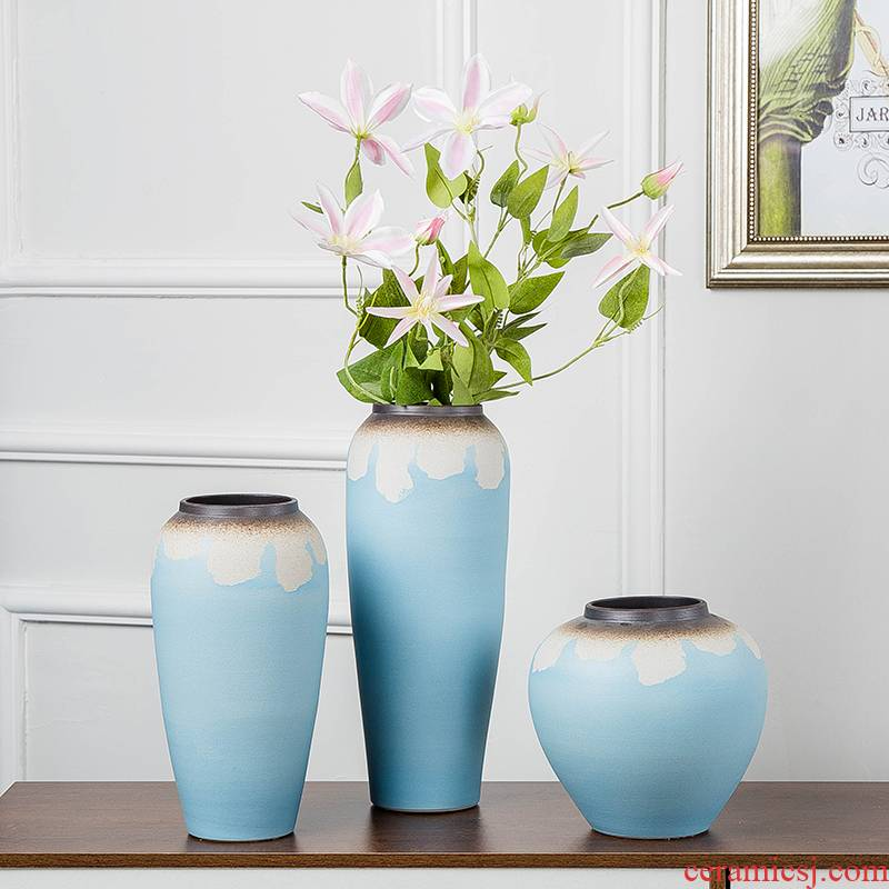 Contracted and I ceramic vases, dry flower is placed small pure and fresh living room table household hydroponic flower flower arranging flowers
