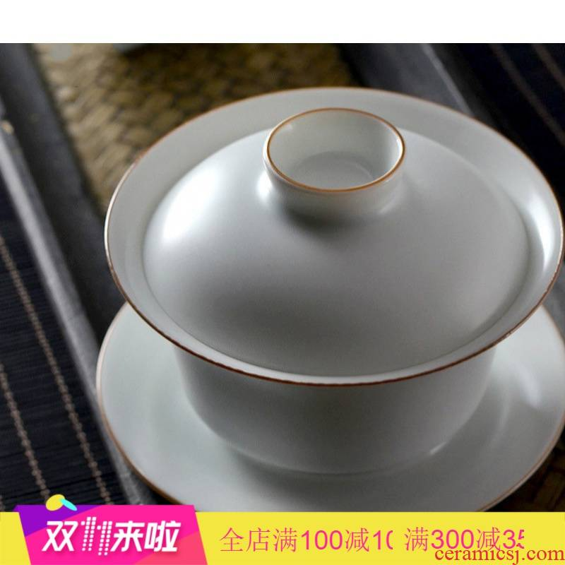The Poly real scene know jingdezhen pure manual white ceramic tureen tea cups white porcelain only three large bowl tea cups
