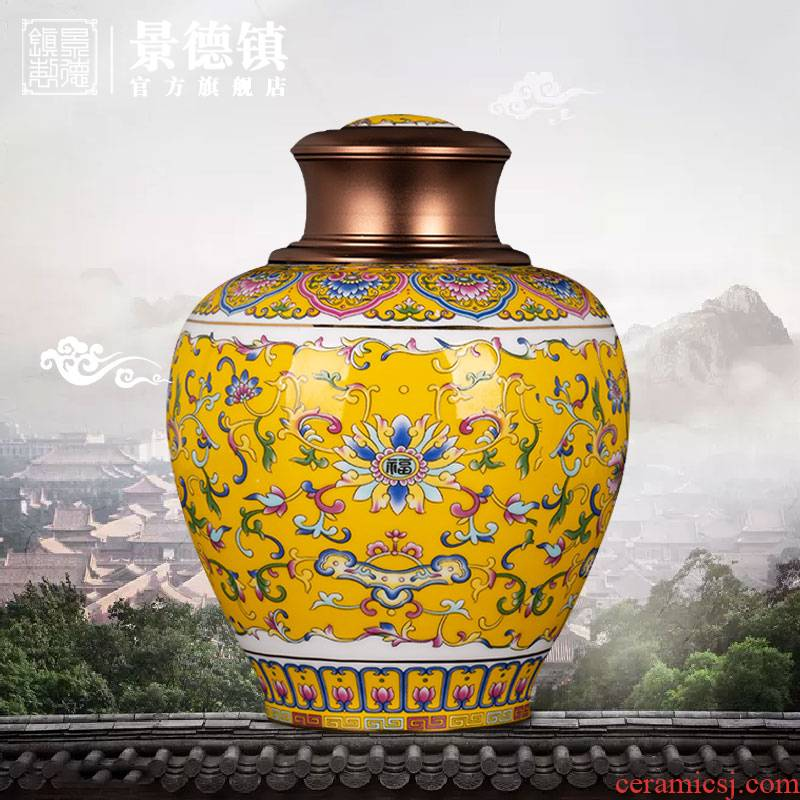 Jingdezhen flagship store China wind restoring ancient ways is bound branch lotus caddy fixings boutique high - end household ceramic tea pot POTS