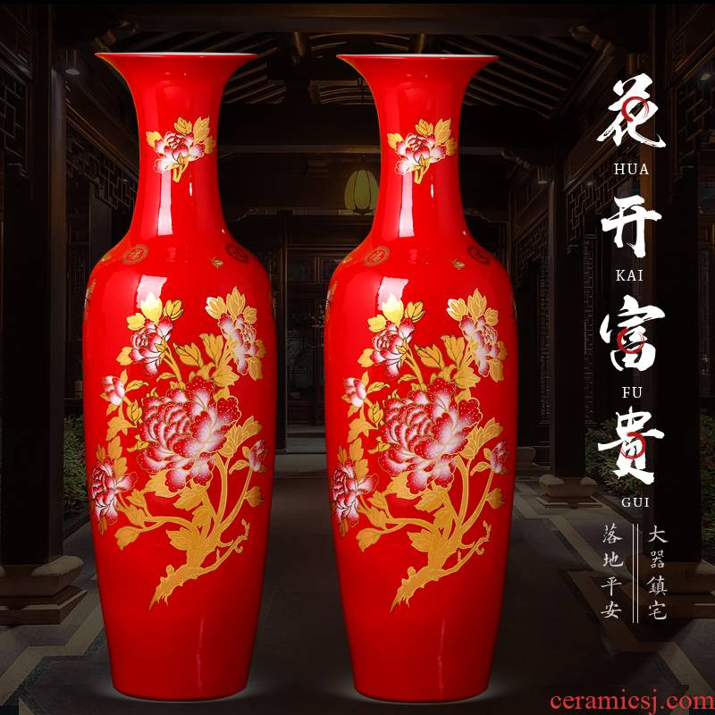 Jingdezhen ceramics China red Chinese style household decorates sitting room of large vase high TV ark hotel furnishing articles