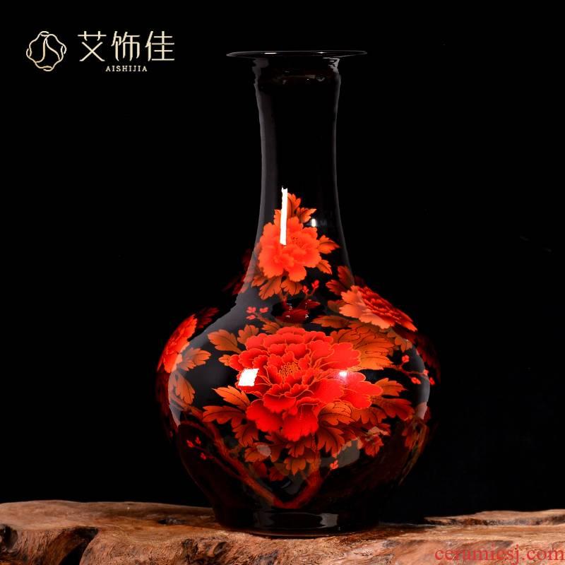 Jingdezhen ceramics peony flowers prosperous vase Chinese style living room TV cabinet porch decoration handicraft furnishing articles