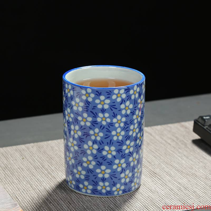 Large ceramic cup individual cup of blue and white porcelain cups Japanese porcelain cup single CPU YaGang cup brush pot hydroponic flower pot
