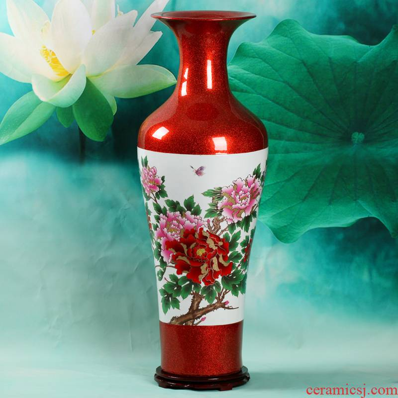 Crystal glaze of large vases, jingdezhen ceramics high living room TV ark to heavy adornment furnishing articles of Chinese style