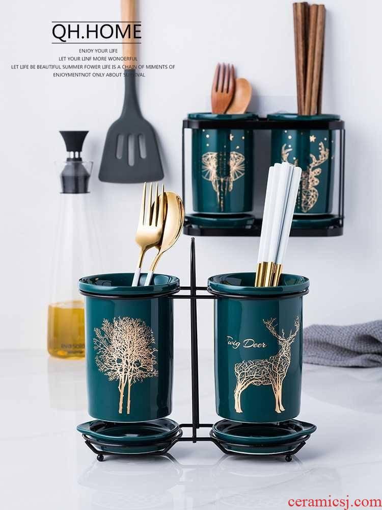 Hug the tachyon chopsticks tube household emerald light key-2 luxury kitchen ceramic tube box of hanging basket drop cage receive a barrel
