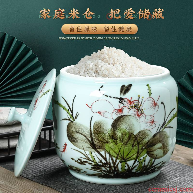 Hand - made jingdezhen ceramic barrel with cover flour ricer box insect - resistant seal 20 jins 30 jins home 50 pounds