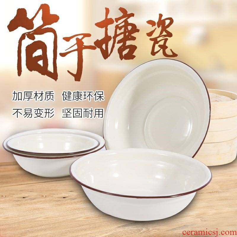 Enamel basin more nostalgic kitchen household size and old soup basin tang porcelain pond bowls iron w