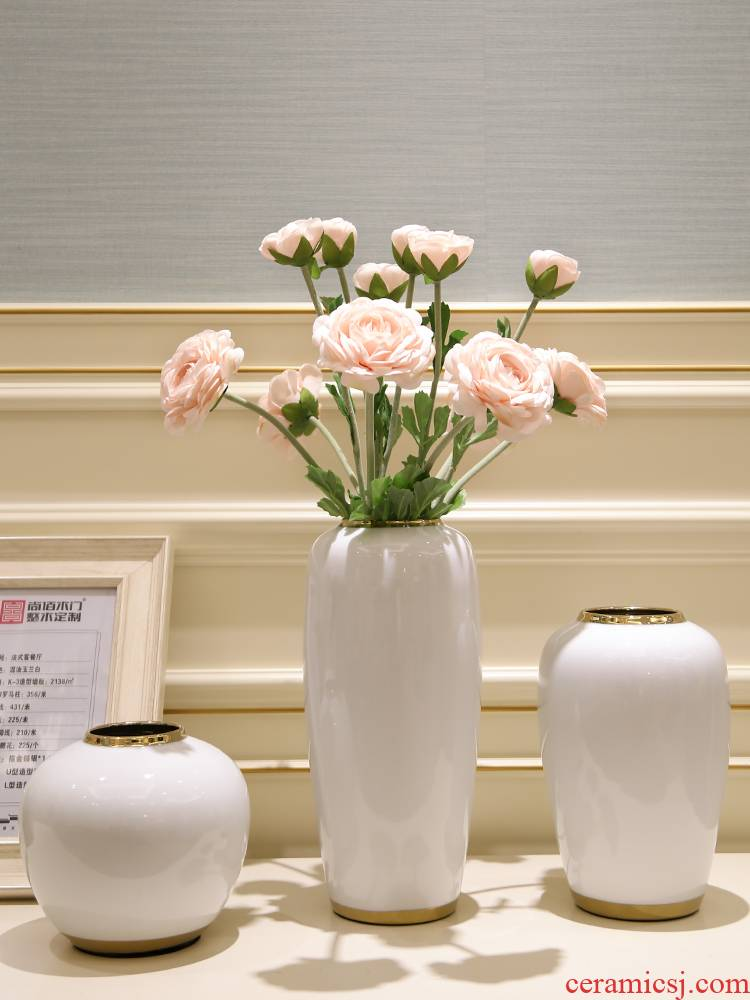 I and contracted vases, flower arrangement sitting room light dry flower is placed European - style key-2 luxury TV ark, ceramic decoration home decoration