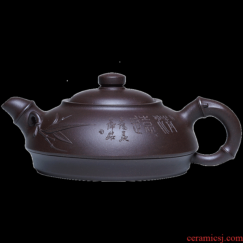Shadow enjoy ceramic tea pot - it yixing Thomas chan masters green bamboo pot of ore old tea ZY purple clay by hand
