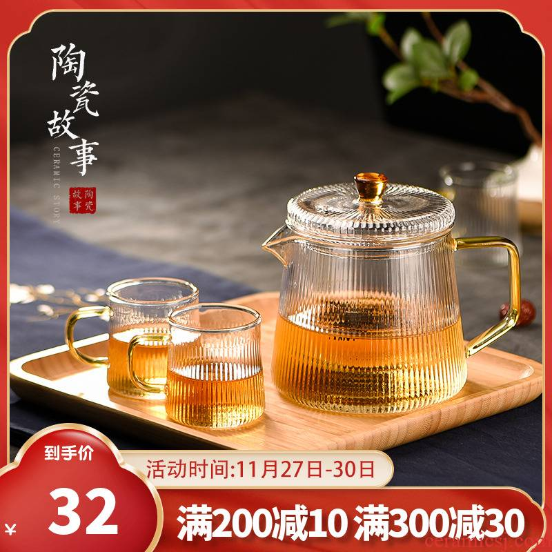 Household Japanese flower pot story glass teapot exchanger with the ceramics thickening high temperature resistant filter black tea tea set
