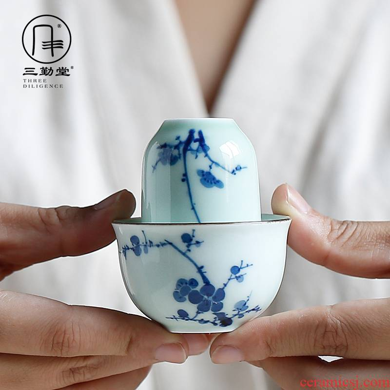 The three frequently kung fu tea cups hand - made porcelain ceramic oolong tea tieguanyin wen xiang sample tea cup set group