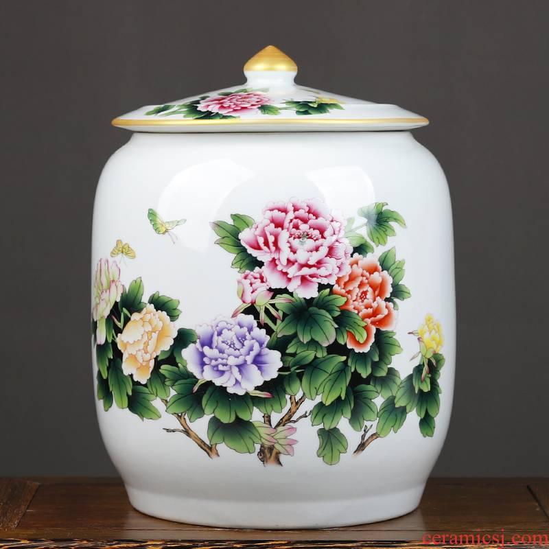 Jingdezhen ceramic barrel of flour cylinder cylinder tank caddy fixings sealing can save up tea cake as cans puer tea tea urn