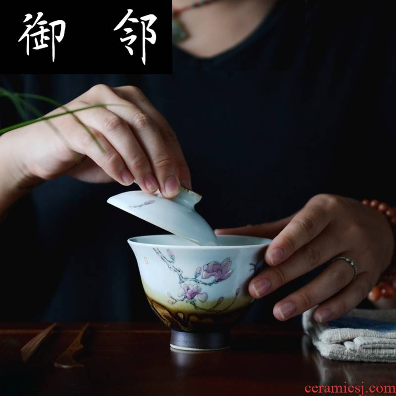 Submerged wood jingdezhen hand - made only three tureen checking wood color porcelain ceramic tea cups prevent iron powder enamel haitang