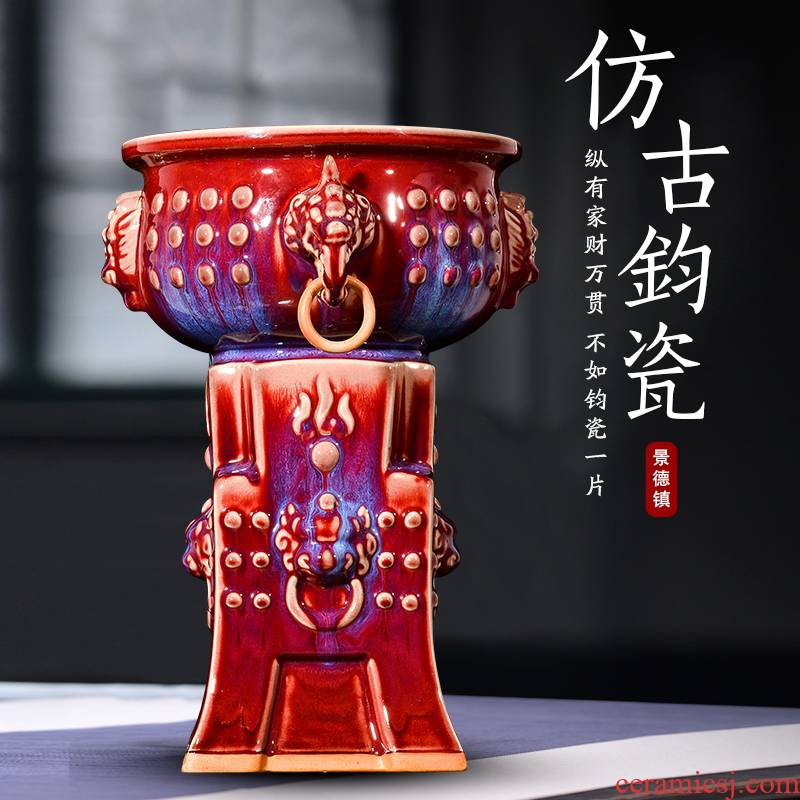 Jingdezhen ceramic vases, flower arrangement sitting room ruby red jun porcelain up with Chinese style restoring ancient ways the study decorate rich ancient frame furnishing articles