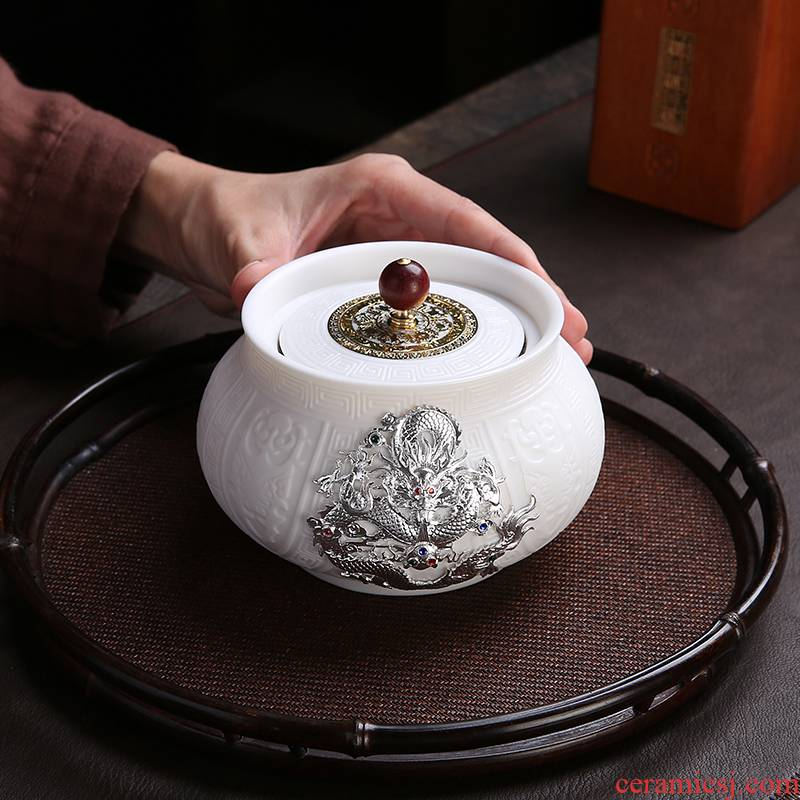Artisan fairy dehua white porcelain inlay silver caddy fixings seal pot home storage tank boutique high - end tea boxes can of gift boxes