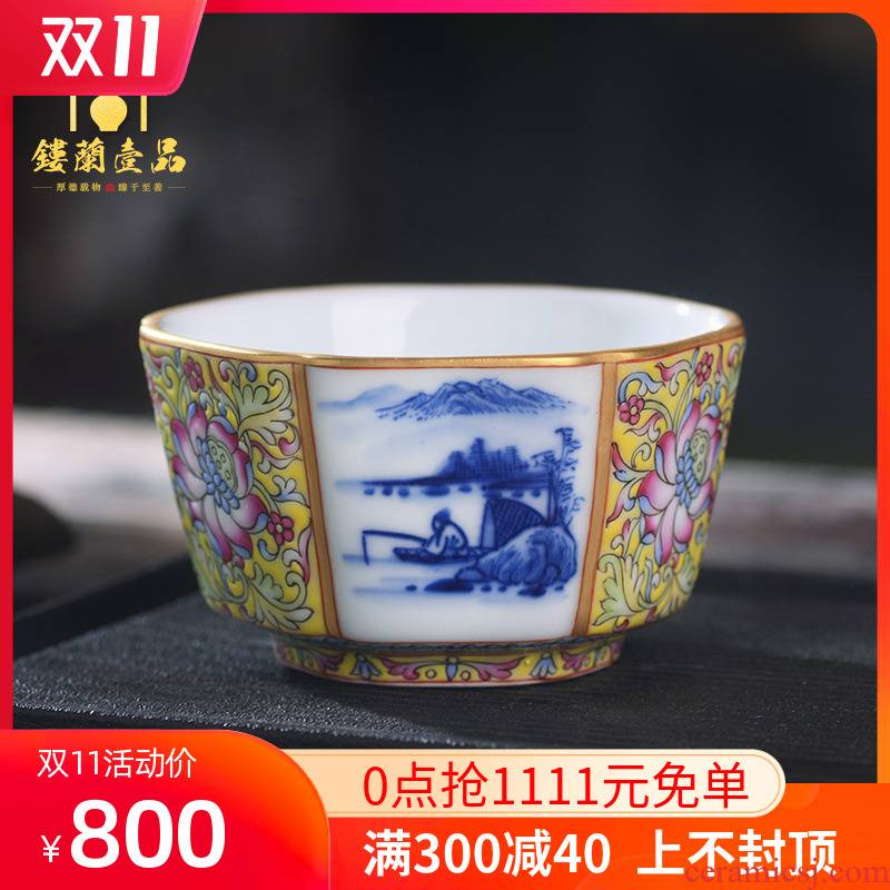 All hand - made colored enamel porcelain of jingdezhen ceramics landscape master cup kunfu tea, tea cup of individual single CPU