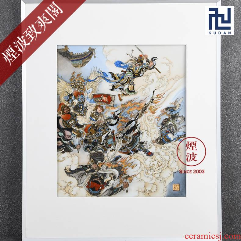 "Those painters jingdezhen nine calcinations hand Liu Jiyou ""heaven"" famille rose porcelain plate painting"