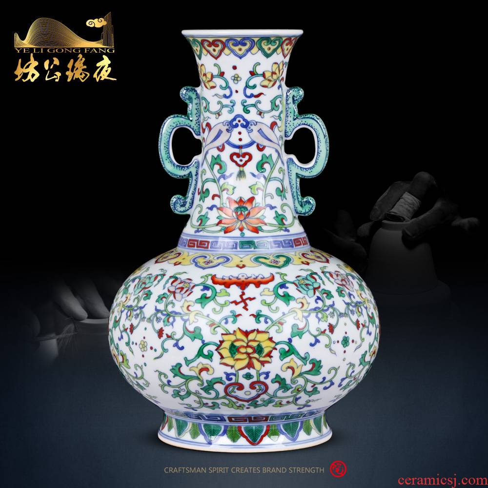 Jingdezhen ceramics furnishing articles imitation the qing yongzheng blue - and - white youligong ears vase Chinese style household adornment ornament