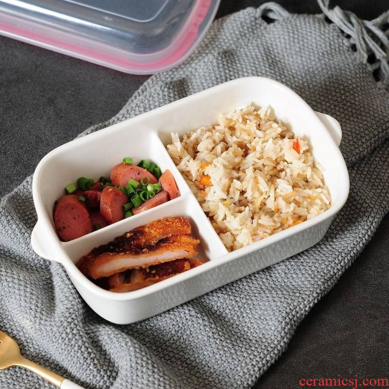 Lunch box Lunch to separate students working with rice dish boxes set points, Japanese ceramics microwave oven