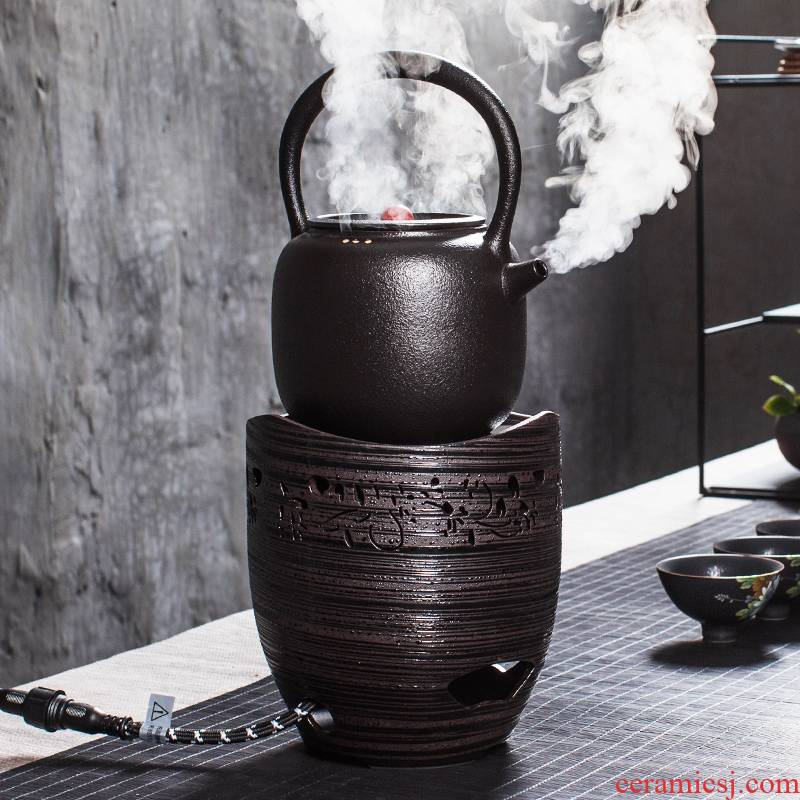 Qiao mu, black pottery teapot kung fu tea boiled tea exchanger with the ceramics smart TaoLu kettle electric kettle suits for