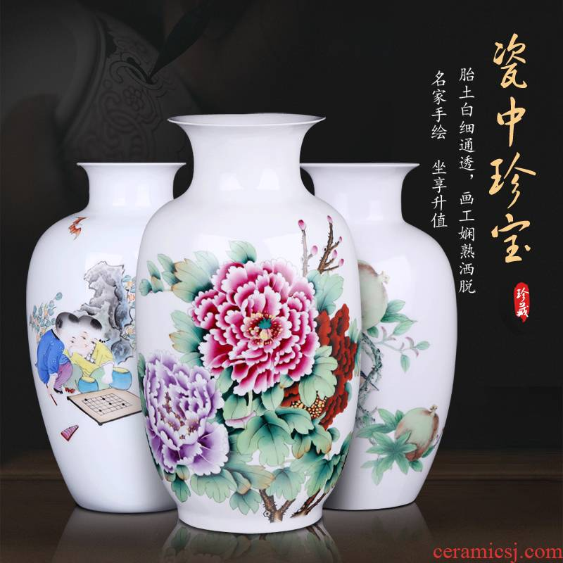 Jingdezhen ceramic vases, flower arranging large hand - made famille rose porcelain of new Chinese style household adornment TV ark, furnishing articles