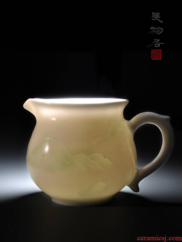 Offered home - cooked at fair taste shadow blue glaze blue white porcelain cup and cup dark moment landscape of jingdezhen ceramic tea set by hand