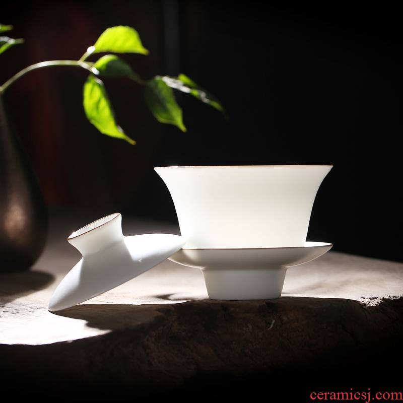 White porcelain tureen jingdezhen ceramic cups in thousand fire heat home suits for your up pu - erh tea tureen large three