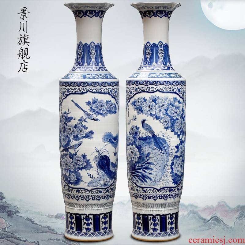 Hand - made blooming flowers large blue and white porcelain vase of jingdezhen ceramics home sitting room of large hotel furnishing articles