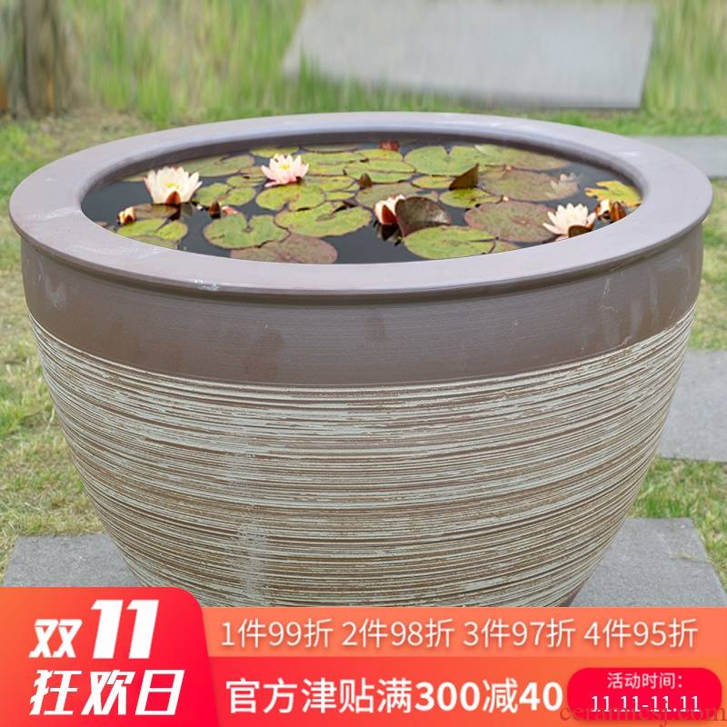 Jingdezhen sleeping fish bowl LianHe flowers cylinder is suing landscape garden of household ceramics old household water storage tank
