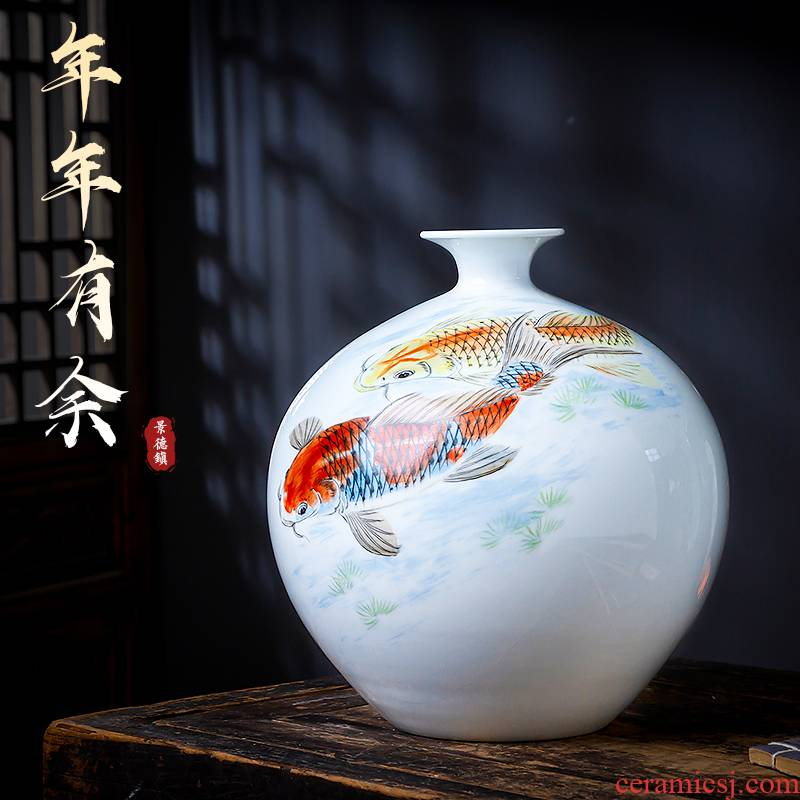 Jingdezhen ceramics famous hand - made vases furnishing articles of Chinese style living room rich ancient frame decorative arts and crafts for more than year after year