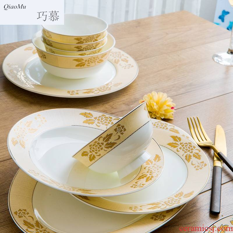Qiao mu jingdezhen cutlery set porcelain dishes household of Chinese style ikea dishes suit 10 people gifts dish bowl