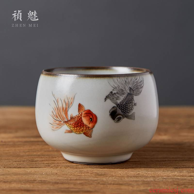 Shot incarnate the jingdezhen ceramic your up hand - made teacup kung fu tea set sample tea cup cup single CPU slicing can be a master
