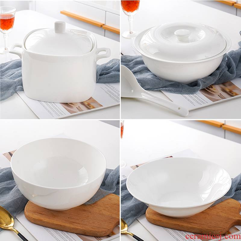 Jingdezhen ceramic white ribbon cover soup pot soup pot pot home large ears product ipads porcelain bowl large soup bowl