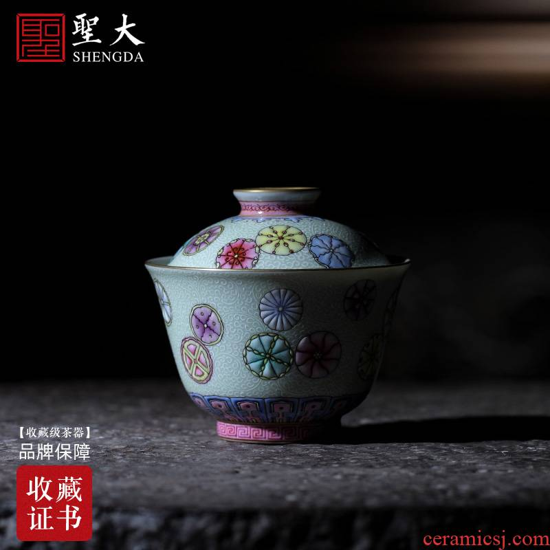 The large ceramic three tureen colored enamel reactor white grass ball pattern without tureen jingdezhen tea by hand