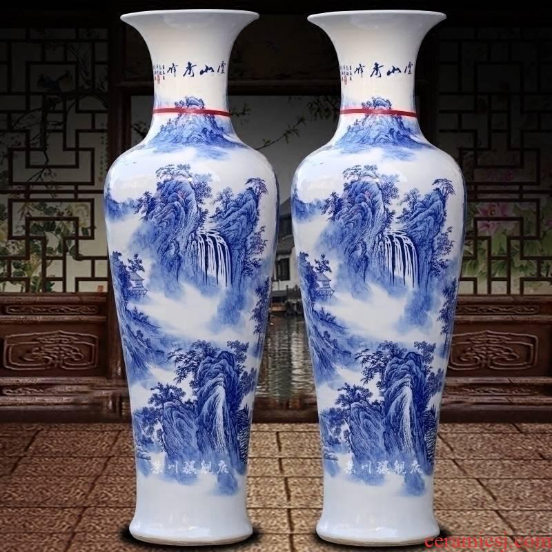 Blue and white porcelain of jingdezhen ceramics yunshan xiufeng landing big sitting room adornment vase hotel furnishing articles